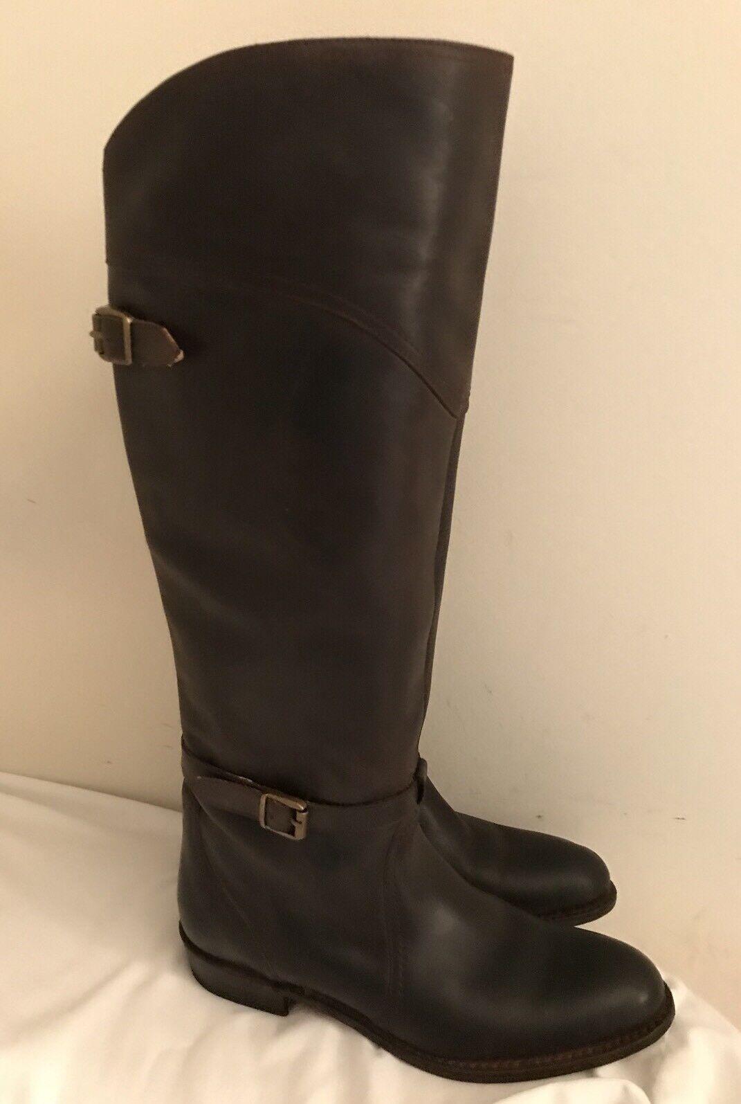 Frye  77561 Dorado Buckle Knee High Riding Boots In Dark Brown Leather  7 1 2 M