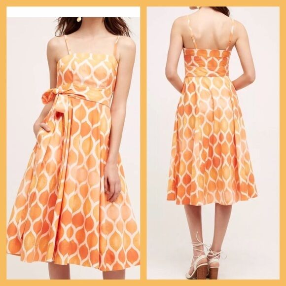 58bca7c74bc ANTHROPOLOGIE FREYA POPLIN DRESS 2P MAEVE orange WHITE DOTS STRAPLESS NWT