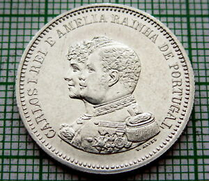 PORTUGAL-CARLOS-I-1898-200-REIS-400th-Anniversary-Discovery-of-India-SILVER