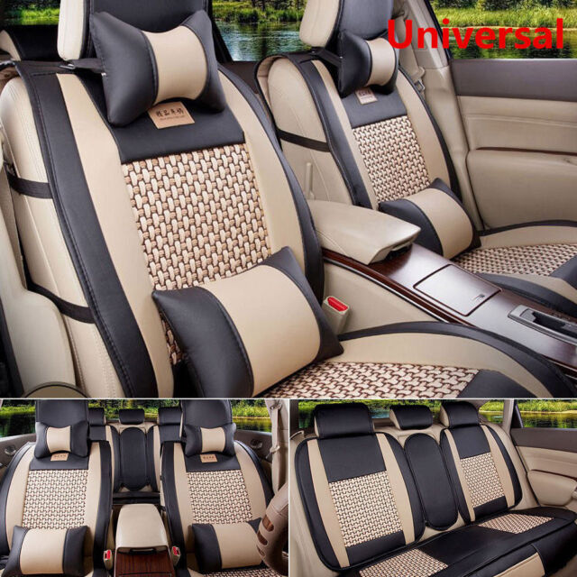 5 Seat Car Covers Cooling Mesh PU Leather Front Rear Full Set