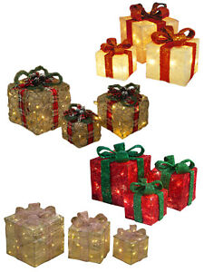 Light Up Gift Boxes Presents Set of 3 Christmas Glitter LED Indoor ...