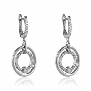 Jewelco London Rhodium Silver CZ Halo Rings Solitaire Drop Earrings 35mm