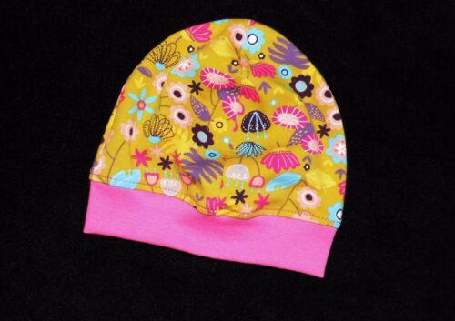 Beanie Jerseymütze  Blumenmuster    HANDARBEIT