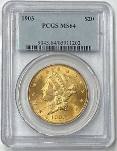 1903-P $20 Liberty Gold Double Eagle Pre-33 PCGS MS64 Small Mintage Of 287,270