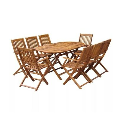 Large Wooden Patio Set Rustic Garden Furniture 8 Seater Dining Fold Table Chairs