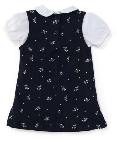 100/% Cotton Golden Floral Print Red //Navy Blue Frock Baby Girls Size 1,2,3