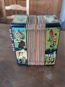 Jouet Vintage 1950 Accordéon Davy Crockett Walt Disney