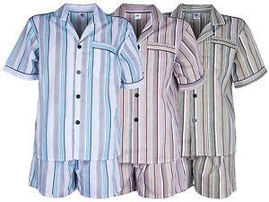Herren-Batist-Pyjama-gestreift-von-SOUNON-Kurz-3-Farben-Gr-48-bis-Gr-60