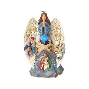 Jim-Shore-034-MIRACLE-WRAPPED-IN-LOVE-034-Lit-amp-Musical-Nativity-Angel-NEW