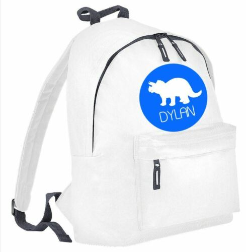 Personalised back to school rucksack back pack your name dinosaur dino design