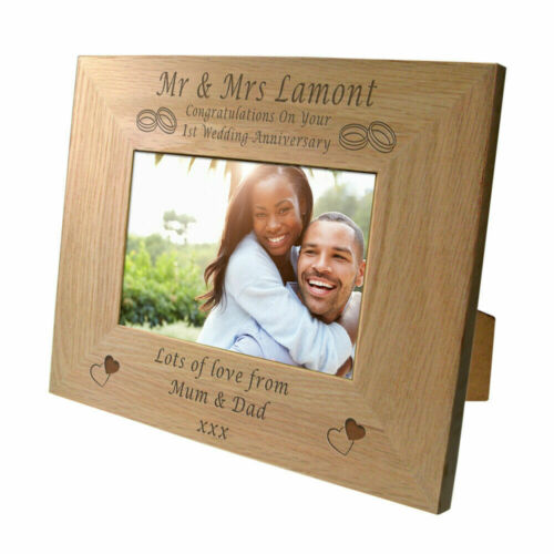 Engraved First Wedding Anniversary Oak Photo Frame Personalised Anniversary Gift