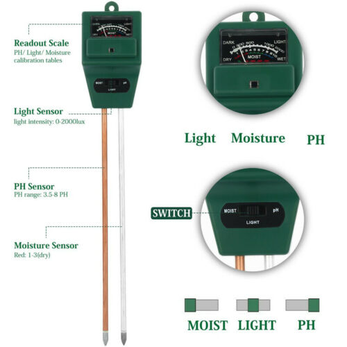 Professional Soil PH Tester Moisture Light Test Meter Analyzer Garden Plant