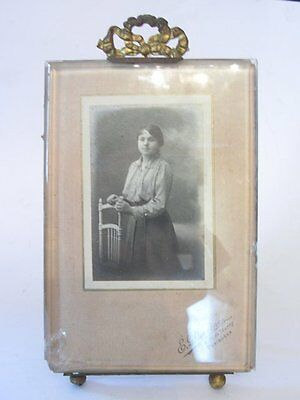 ANTIQUE BELEVED GLASS FRENCH PHOTO FRAME ANCIEN CADRE PORTE PHOTO VERRE BISEAUTE