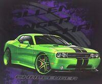Black Srt Dodge Mopar Hemi T-shirt Charger Challenger Logo Emblem Lime Green