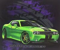 Black Srt Dodge Mopar Hemi T-shirt Charger Challenger Logo Emblem Lime Green