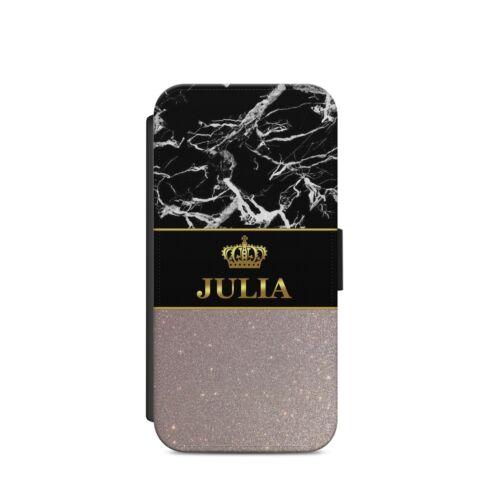 Nombre Personalizado Oro Plata Corona de mármol oscuro x37 Billetera Estuche IPhone Samsung