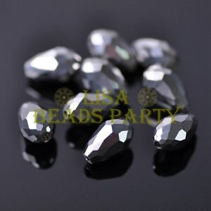 New-30pcs-12X8mm-Faceted-Teardrop-Crystal-Glass-Spacer-Loose-Beads-Silver