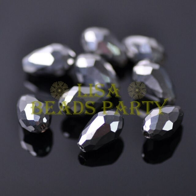 New 30pcs 12X8mm Faceted Teardrop Crystal Glass Spacer Loose Beads Silver