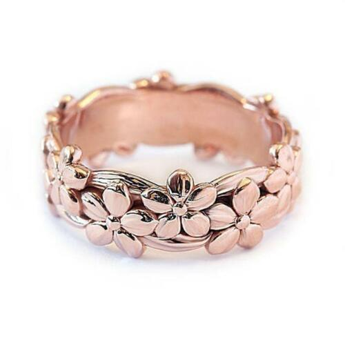 Women Plum Blossom Rings Flower Shape Rose Gold Wedding Jewelry C