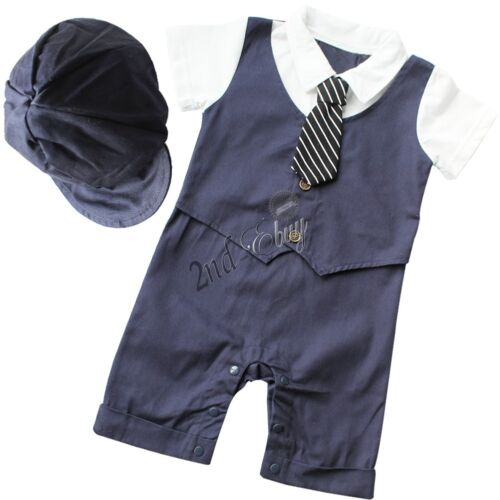 Infant Baby Boys Wedding Christening Tuxedo Suit Outfit Romper Bodysuit Clothes