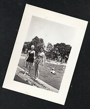 Vintage Antique Photograph Two Women in Old Time Bathing Suits By Pool US Flag