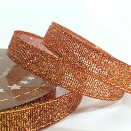 10mm Golden Accents Ribbon Copper Red 5m Roll