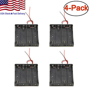 4-x-18650-Battery-Holder-Storage-Case-Plastic-Box-7-034-Wire-Leads-With-4-Slots-15V