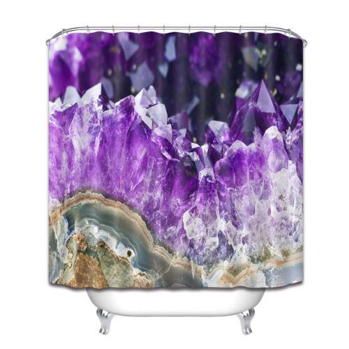 12 Hooks Bathroom Accessories Rock Amethyst Mineral Shower Curtain Waterproof