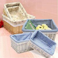 Plain Elegant Wicker Storage Basket With Lining Hamper Small, Medium, Large Gift