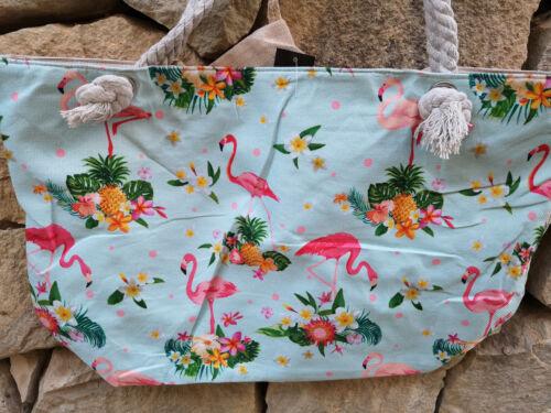 XXL Tasche ♥ große Strandtasche ♥ Sporttasche Badetasche Shopper Flamingo hellbl