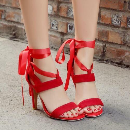 Femme Summer Lacets Dos Fermeture Éclair à Lanières Talons Aiguilles Sandales Soirée Chaussures