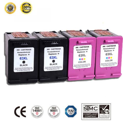 4 Pk 63XL Ink Cartridges for HP Deskjet 1110 1111 1112 2130 2132 3630 3632 3633