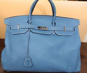 63f8ca54655 ... low price image is loading hermes birkin traveling bag limited edition  blue jean 4b40b 041d6
