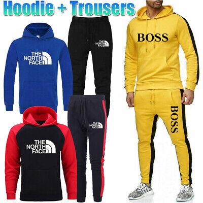 3PCS Mens Tracksuit Set Hoodie Sweatshirts Trousers Bottoms Jogging Suit Sports