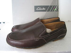 NEW MENS CLARKS EXTRA LIGHT LATCH DOCK BROWN LEATHER SHOES SIZE 6 & 8 G FIT