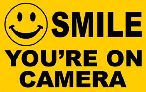 Free Aus Post SMILE YOUR ON CAMERA SECURITY STICKER 14cm x 9cm