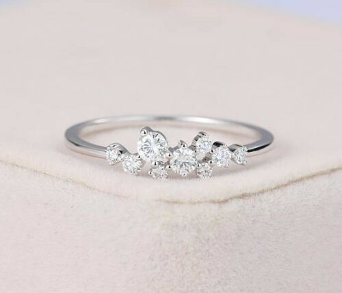 14K White Gold Finish 1.50 CTW Round Brilliant Cut Spiral Cluster 925 Ring 5-10