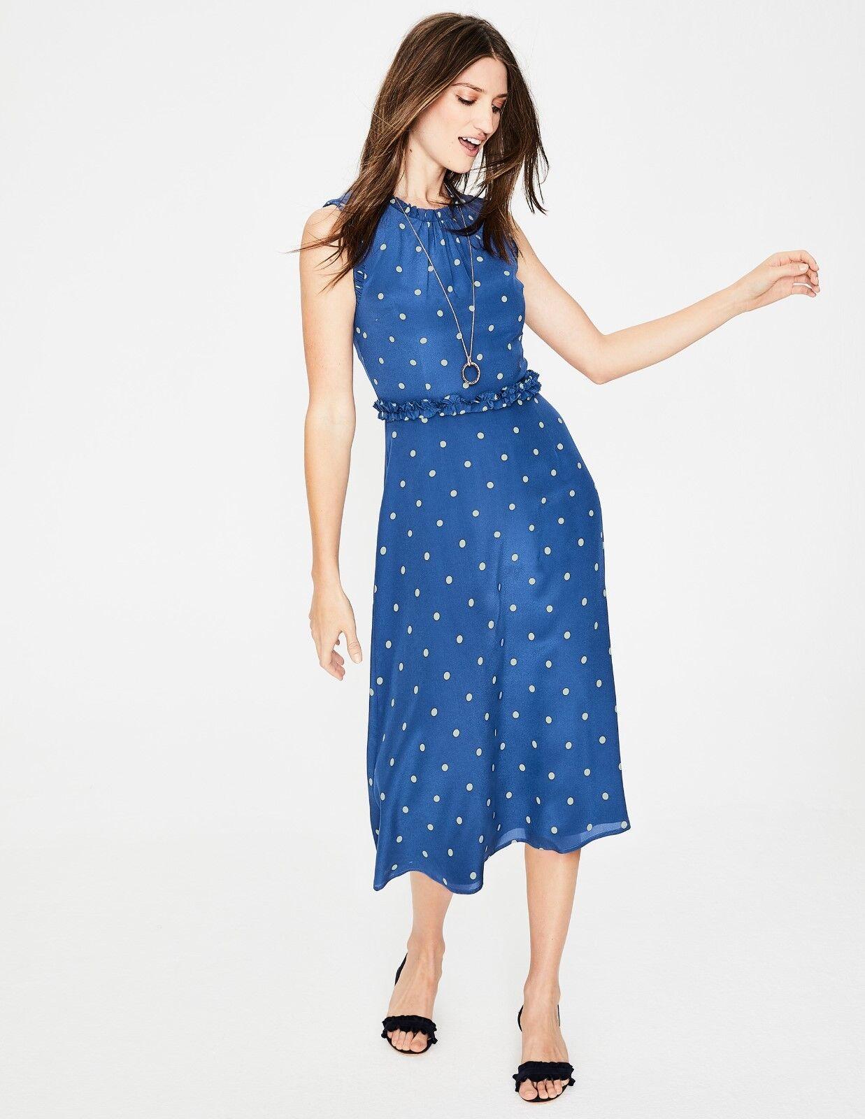 Boden Effie Silk Dress Opulent Blau Spot Größe 16 Long RRP