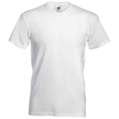 Herren T-Shirts  V-Ausschnitt Fruit of the Loom uni weiß M-XXL Art 5 Stk 312