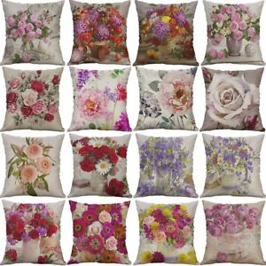 Vintage-Flower-Cotton-Linen-Cushion-Cover-Throw-Pillow-Case-Sofa-Home-Decor