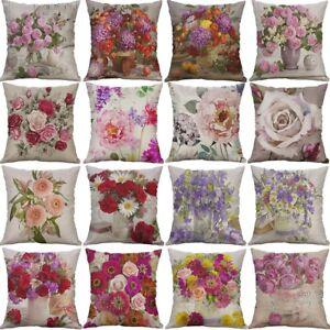 Vintage-Fleur-Coton-Lin-Housse-De-Coussin-Throw-Taie-d-039-oreiller-canape-Home-Decor