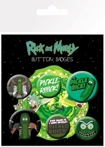 RICK AND MORTY PICKLE RICK MIX 6 PACK OF BADGES NEW 100/% OFFICIAL MERCHANDISE