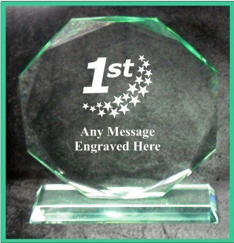 Verre 1ST place 15 cm Octagon Award Trophy GA1038 gravé personnalisé