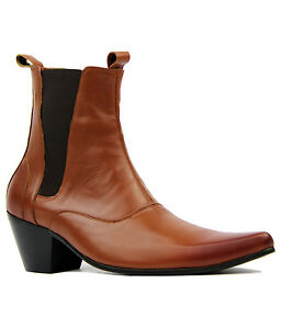 Leather Cuban New Outlaw Indie Heel Sixties Retro Mens Brown Boots Mod Chelsea nOqOPT7