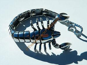 Bracelet-Collector-Rare-23-cm-Pur-Acier-Inoxydable-Argente-Veritable-Scorpion