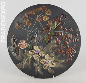 Vintage-60-70-RUSCHA-KERAMIK-Wall-Plate-Flowers-West-German-Pottery-Fat-Lava-Era