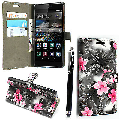 For Various Huawei Phones Printed Leather Magnetic Flip Case Cover + Stylus