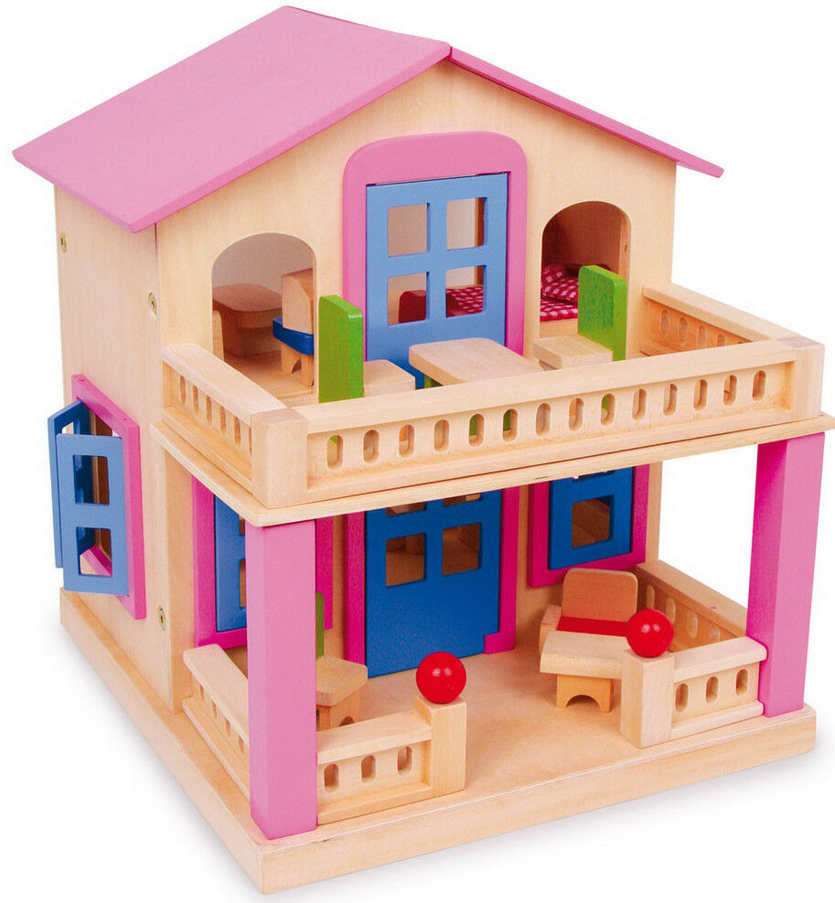 Puppenhaus mit 18-tlg. Zubehör Spielhaus Puppenstube Holz ca. 33 x 35 x 39 cm