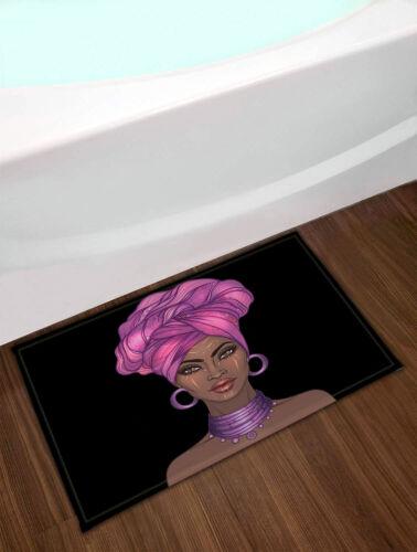 Waterproof Shower Curtain Set Makeup Art African Girl Bathroom Decor /& 12 Hooks