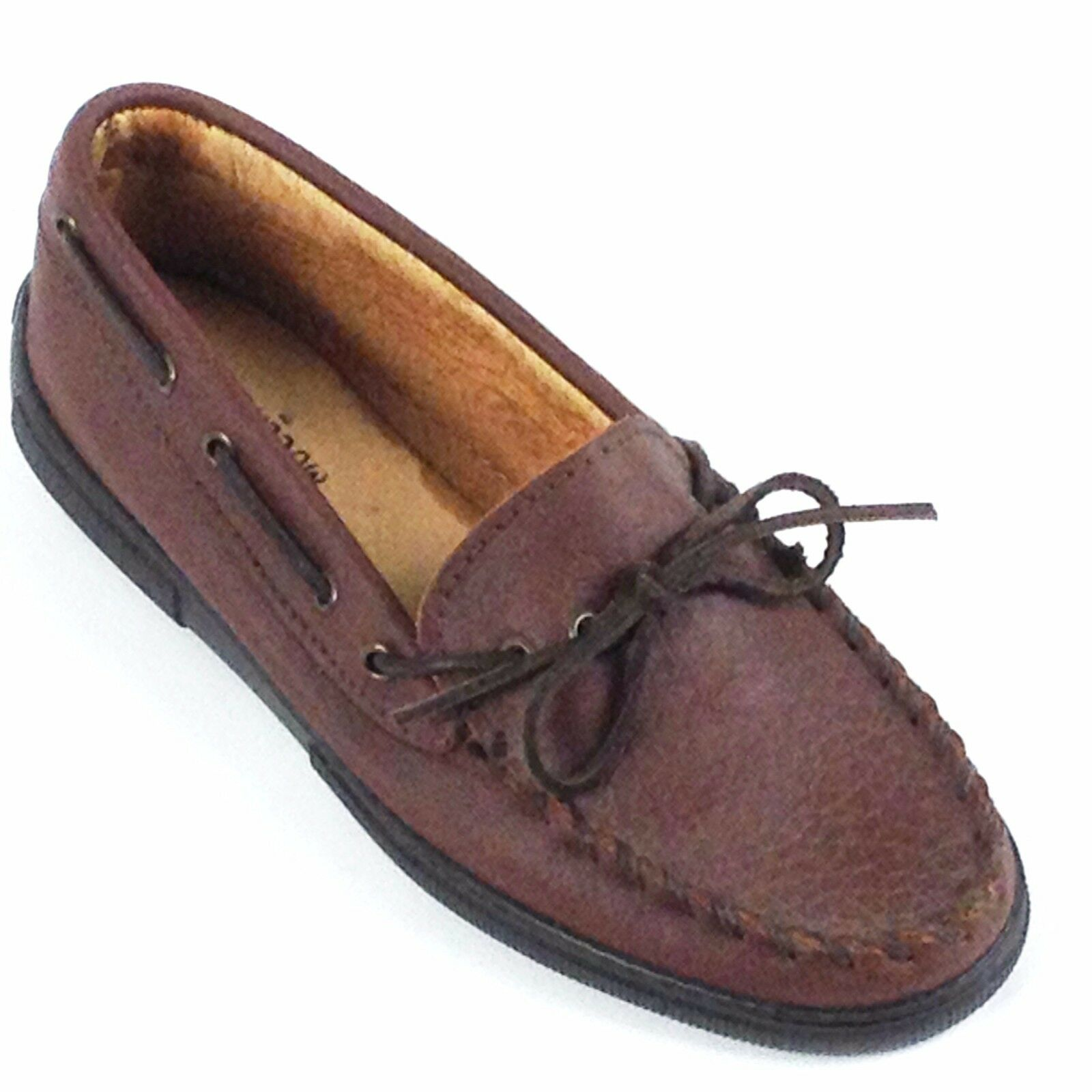 Minnetonka, Moccasin,Men,s Brown Genuine Buffalo shoes With Sole 872
